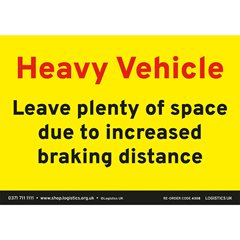 Increased Braking Distance Sticker