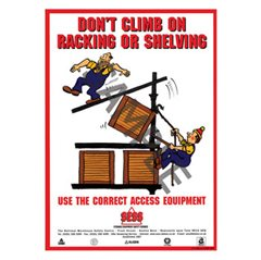 """Don't climb racking or shelving"" - A3 Poster SP01"