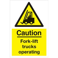 """Caution fork lift trucks operating"" sign WA64S"