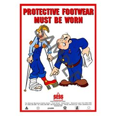 """Protective footwear must be worn"" - A3Poster SP29"