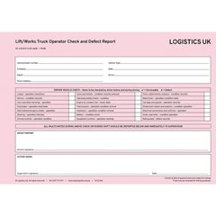 FC40 - Fork/Works Truck Driver Defect Report Pad