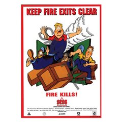"""Keep fire exits clear"" - A3 Laminated Poster SP03"