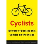 A5 Portrait Cyclist Beware Sticker