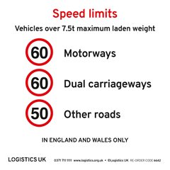 Internal Speed Limit Sticker - over 7.5t for England & Wales