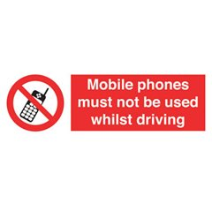 Mobile phones must not be used whilst driving sticker