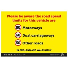 A4 External Speed Sticker for England & Wales