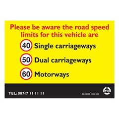 A4 External Speed Sticker for Scotland & Northern Ireland