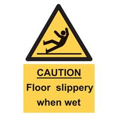 """Caution floor slippery when wet"" sign FL02"